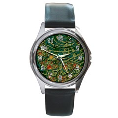 Unique Abstract Mix 1c Round Metal Watch