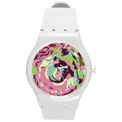 Abstract art Round Plastic Sport Watch (M)