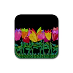 Tulips Rubber Square Coaster (4 pack)