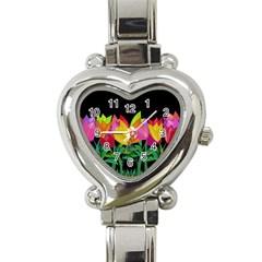 Tulips Heart Italian Charm Watch