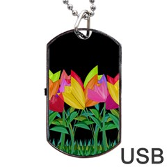 Tulips Dog Tag USB Flash (Two Sides)