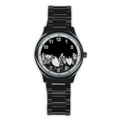 Tulips Stainless Steel Round Watch