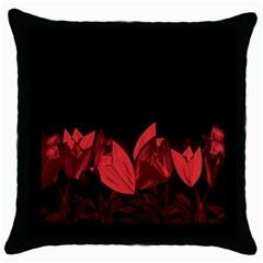 Tulips Throw Pillow Case (Black)