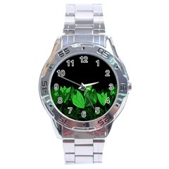Tulips Stainless Steel Analogue Watch