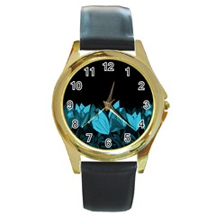 Tulips Round Gold Metal Watch