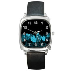 Tulips Square Metal Watch
