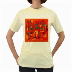 Abstract art Women s Yellow T-Shirt