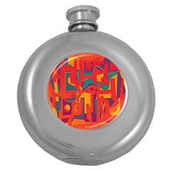 Abstract art Round Hip Flask (5 oz)