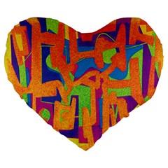 Abstract art Large 19  Premium Heart Shape Cushions