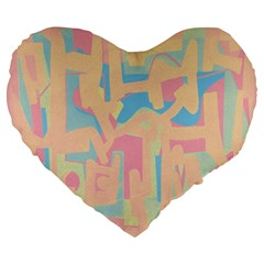 Abstract art Large 19  Premium Flano Heart Shape Cushions
