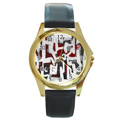 Abstract art Round Gold Metal Watch