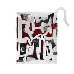 Abstract art Drawstring Pouches (Large)