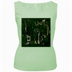 Abstract art Women s Green Tank Top