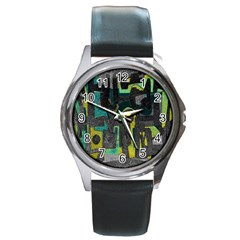 Abstract art Round Metal Watch