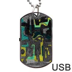 Abstract art Dog Tag USB Flash (One Side)