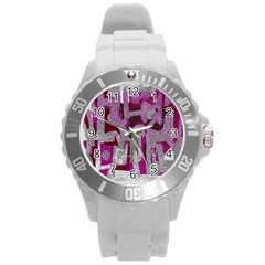 Abstract art Round Plastic Sport Watch (L)