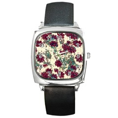Floral Dreams 10 Square Metal Watch