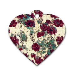 Floral Dreams 10 Dog Tag Heart (One Side)