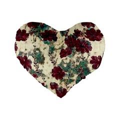 Floral Dreams 10 Standard 16  Premium Flano Heart Shape Cushions