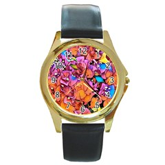 Floral Dreams 15 Round Gold Metal Watch