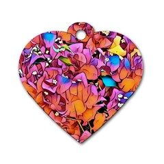 Floral Dreams 15 Dog Tag Heart (Two Sides)