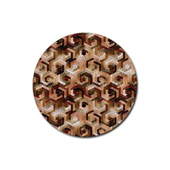 Pattern Factory 23 Brown Rubber Round Coaster (4 pack)