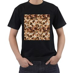 Pattern Factory 23 Brown Men s T-Shirt (Black) (Two Sided)