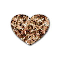 Pattern Factory 23 Brown Rubber Coaster (Heart)