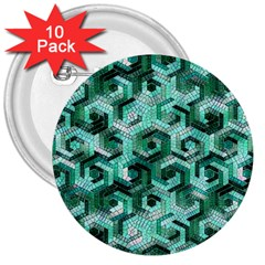 Pattern Factory 23 Teal 3  Buttons (10 pack)