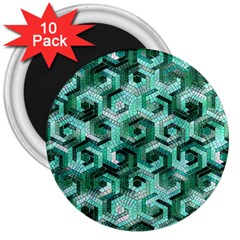 Pattern Factory 23 Teal 3  Magnets (10 pack)