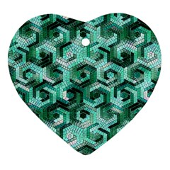 Pattern Factory 23 Teal Heart Ornament (Two Sides)