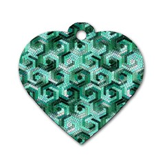 Pattern Factory 23 Teal Dog Tag Heart (One Side)