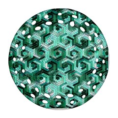 Pattern Factory 23 Teal Round Filigree Ornament (Two Sides)