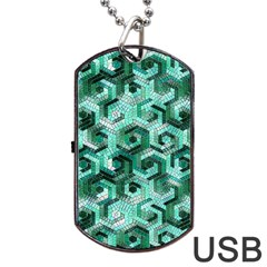 Pattern Factory 23 Teal Dog Tag USB Flash (One Side)