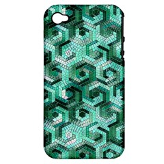 Pattern Factory 23 Teal Apple iPhone 4/4S Hardshell Case (PC+Silicone)