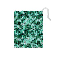 Pattern Factory 23 Teal Drawstring Pouches (Medium)