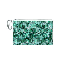 Pattern Factory 23 Teal Canvas Cosmetic Bag (S)