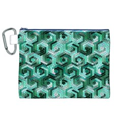 Pattern Factory 23 Teal Canvas Cosmetic Bag (XL)