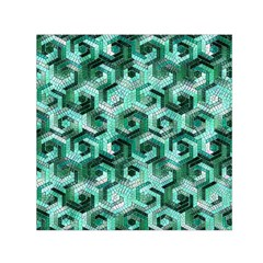 Pattern Factory 23 Teal Small Satin Scarf (Square)