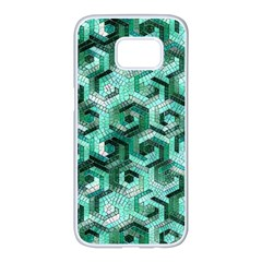 Pattern Factory 23 Teal Samsung Galaxy S7 edge White Seamless Case