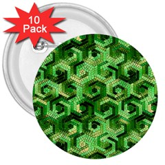 Pattern Factory 23 Green 3  Buttons (10 pack)