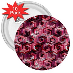 Pattern Factory 23 Red 3  Buttons (10 pack)