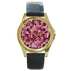 Pattern Factory 23 Red Round Gold Metal Watch