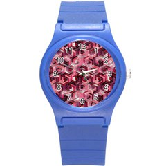 Pattern Factory 23 Red Round Plastic Sport Watch (S)