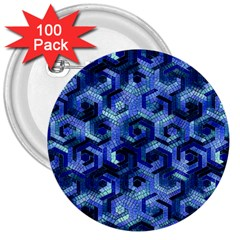 Pattern Factory 23 Blue 3  Buttons (100 pack)