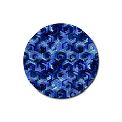 Pattern Factory 23 Blue Rubber Coaster (Round)