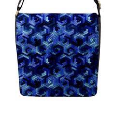 Pattern Factory 23 Blue Flap Messenger Bag (L)
