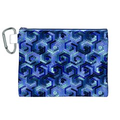 Pattern Factory 23 Blue Canvas Cosmetic Bag (XL)