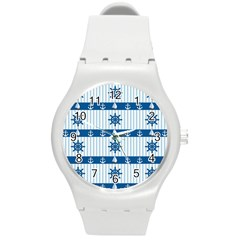 Sea pattern Round Plastic Sport Watch (M)