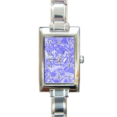 Shimmering Floral Damask,blue Rectangle Italian Charm Watch